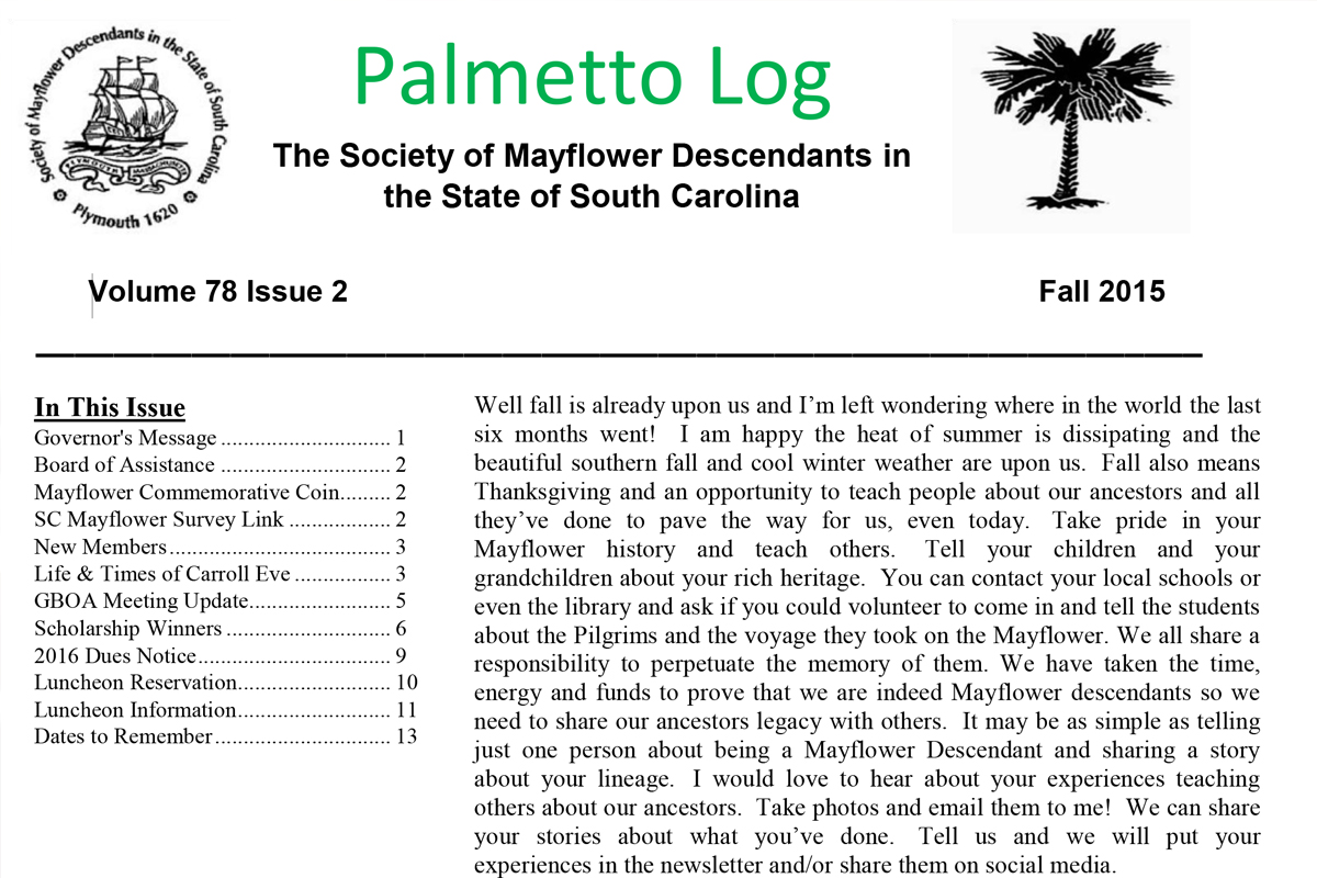 Palmetto Log Fall 2015